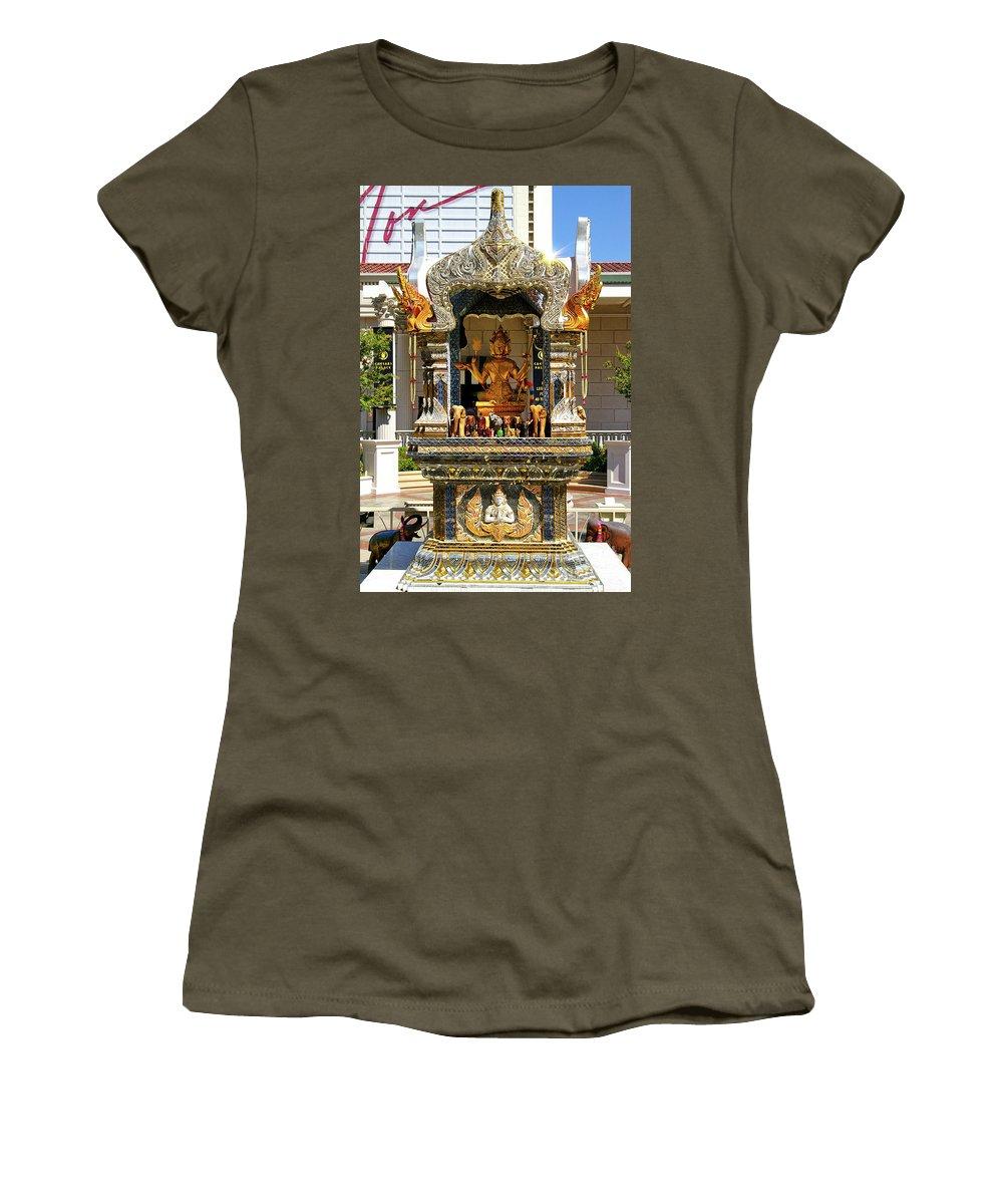 Buddha Statue Women's T-Shirt featuring the photograph Buddha Shrine by Mariola Bitner