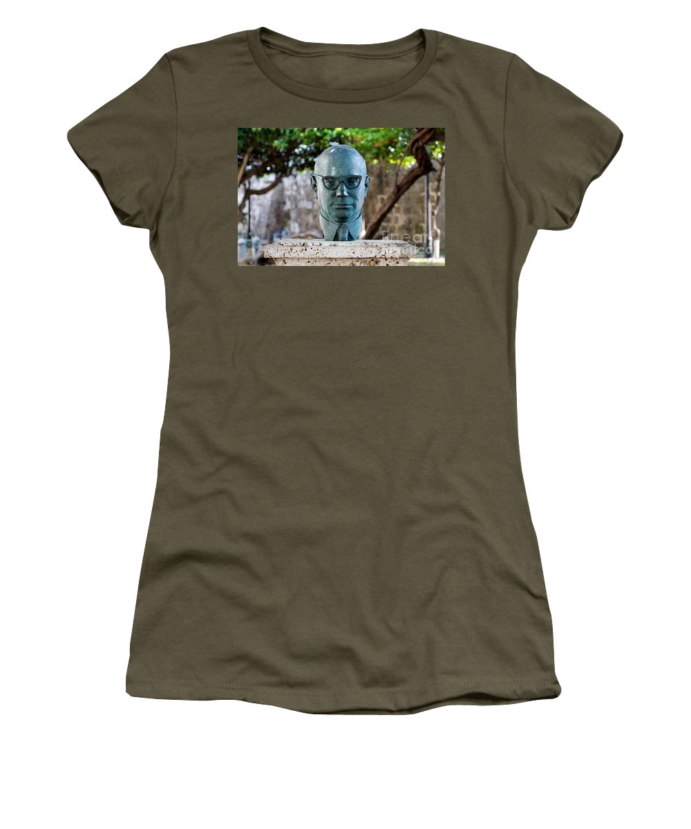 60s Women's T-Shirt featuring the photograph Bust Of Carlos Lleras Restrepo In Cartagena De Indias Colombia by Jannis Werner