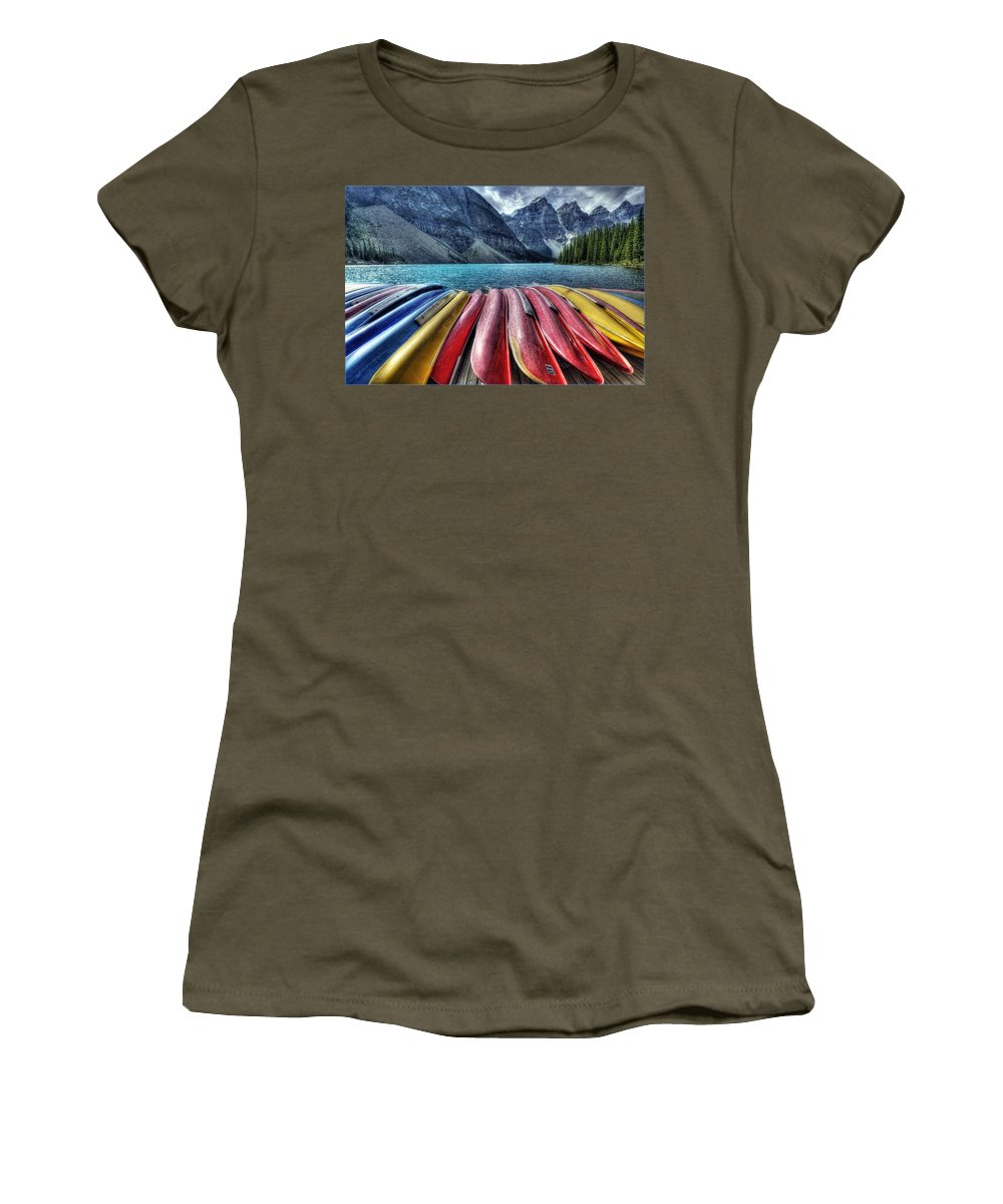 Alberta Women's T-Shirt (Athletic Fit) featuring the digital art Canoes by Diane Dugas