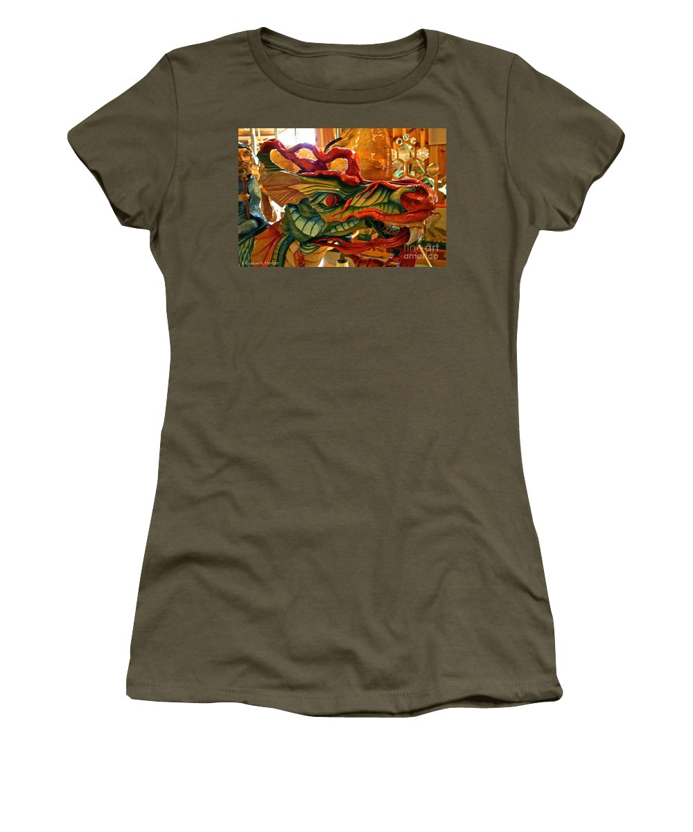 Carousel Women's T-Shirt featuring the photograph Carved Dragon by Susan Herber