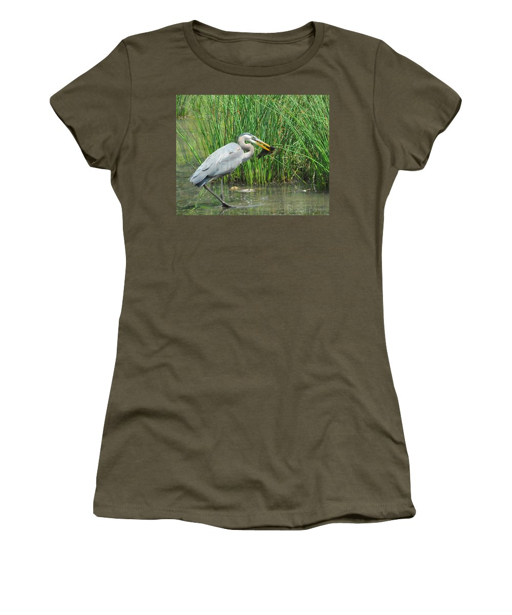 Heron Women's T-Shirt (Athletic Fit) featuring the photograph Catch Of The Day by Paul Ward