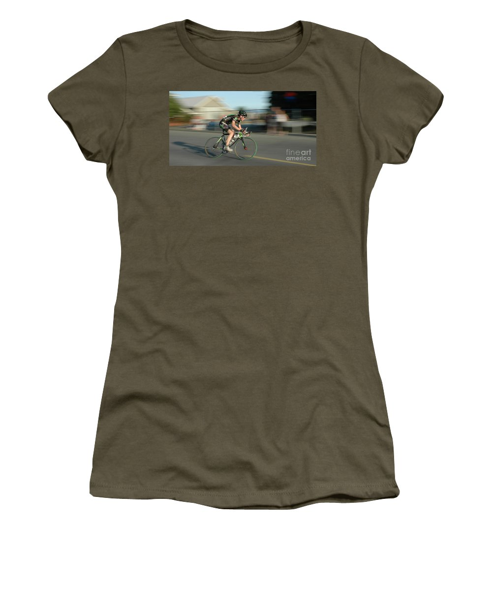 Bicycles Women's T-Shirt featuring the photograph Chasing The Pack by Vivian Christopher