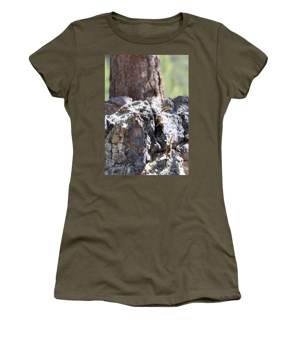 Chipmunk Women's T-Shirt (Athletic Fit) featuring the photograph Chip N' Dale by Dorrene BrownButterfield