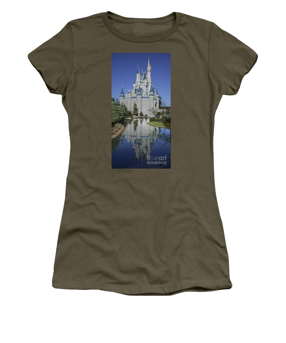 Disney World Women's T-Shirt featuring the photograph Cinderella's Castle by Tim Mulina