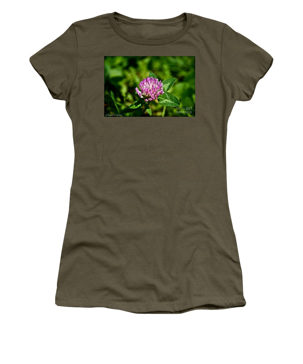 Outdoors Women's T-Shirt (Athletic Fit) featuring the photograph Clover Craze by Susan Herber