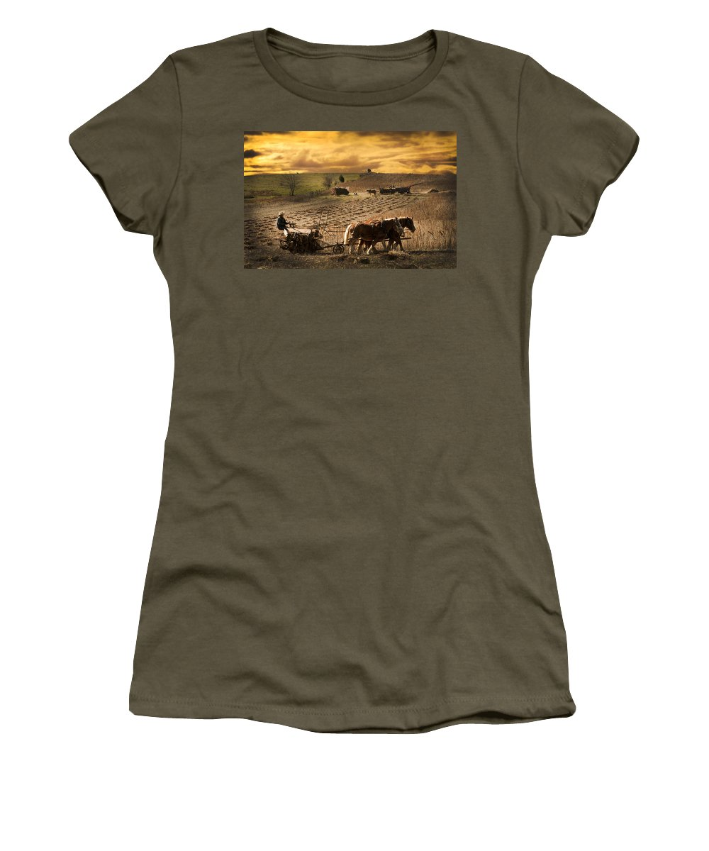 Combining Beans Women's T-Shirt featuring the photograph Combining And Thrashing Beans by Randall Branham