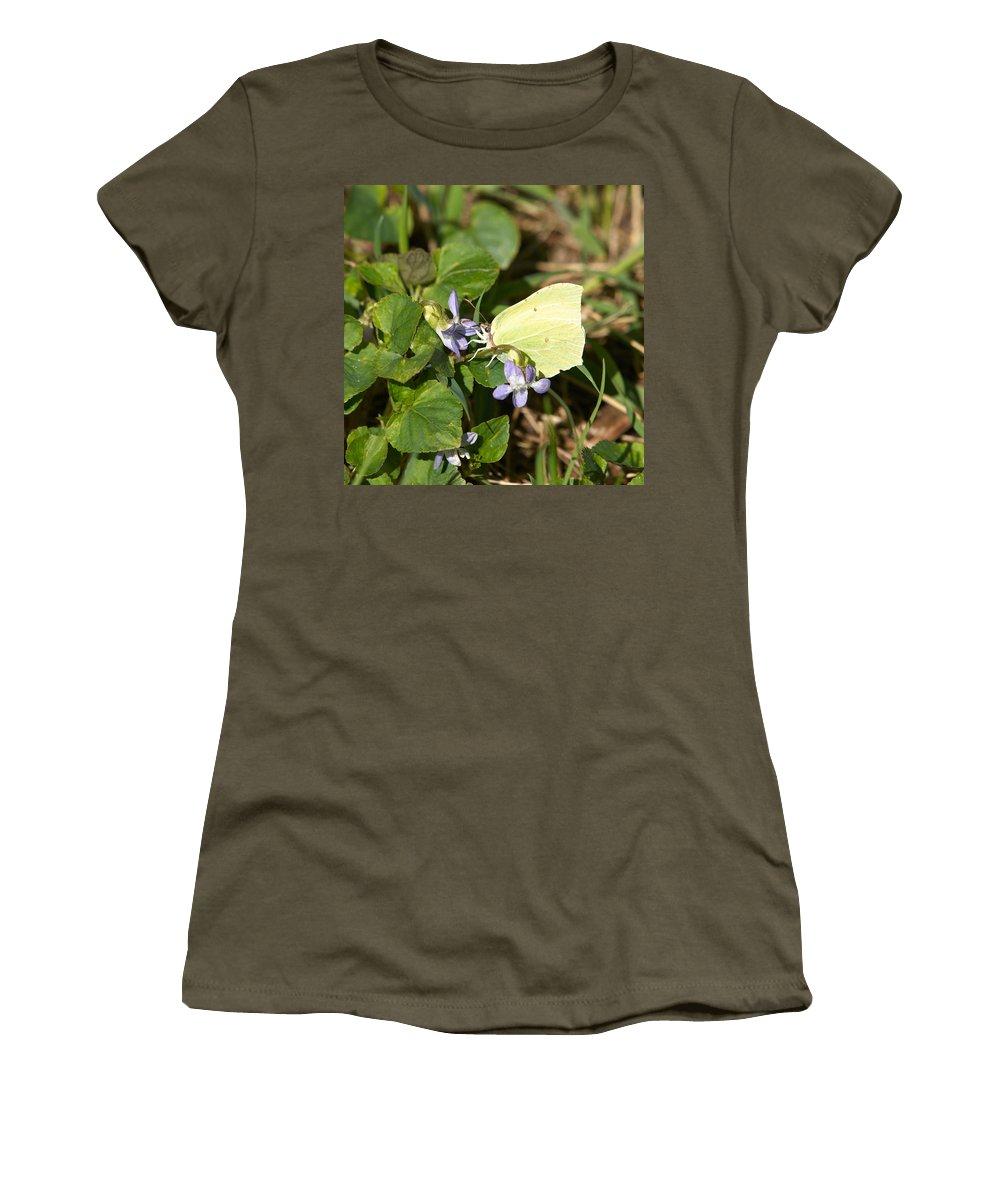 Common Brimstone. Sitruunaperhonen Women's T-Shirt (Athletic Fit) featuring the photograph Common Brimstone by Jouko Lehto
