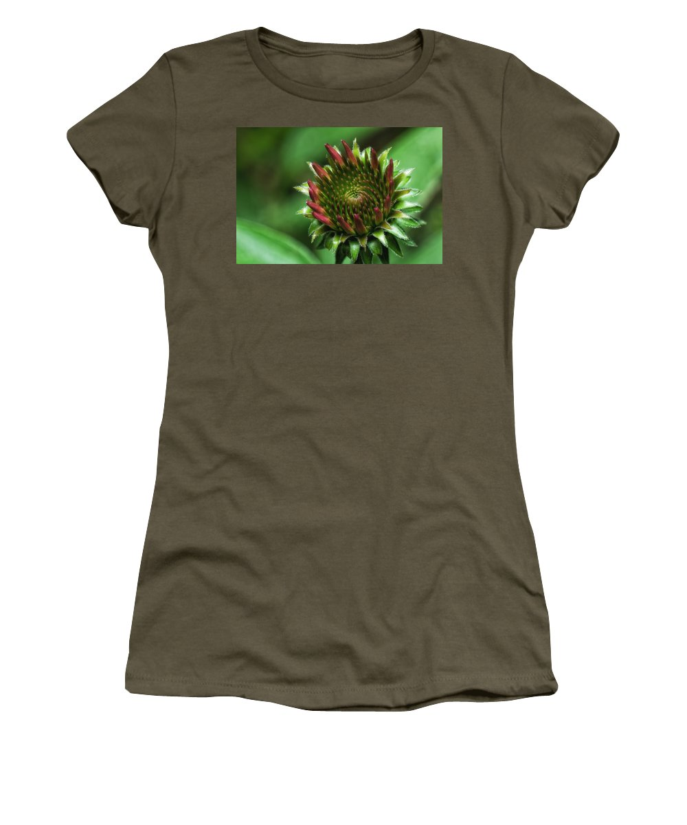 Macro Women's T-Shirt featuring the photograph Coneflower Close-up by Lori Coleman
