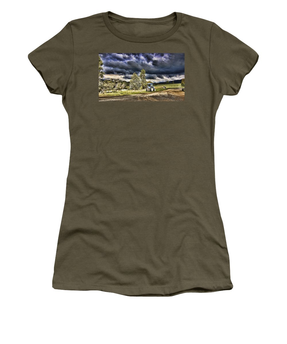Dark Women's T-Shirt (Athletic Fit) featuring the photograph Dark Clouds Over The Farm by Douglas Barnard