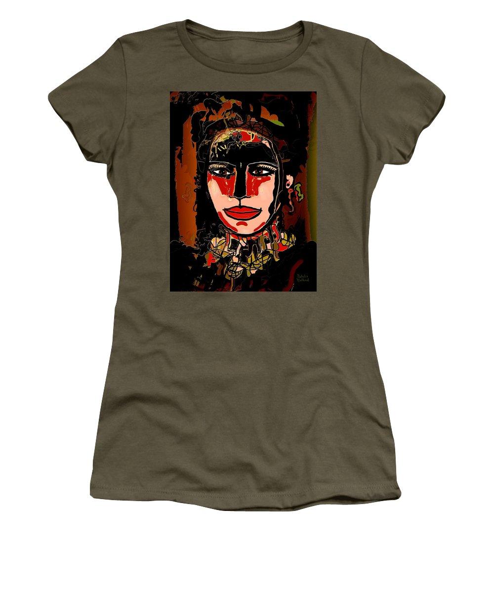 Dark Eyes Women's T-Shirt featuring the mixed media Dark Eyes by Natalie Holland