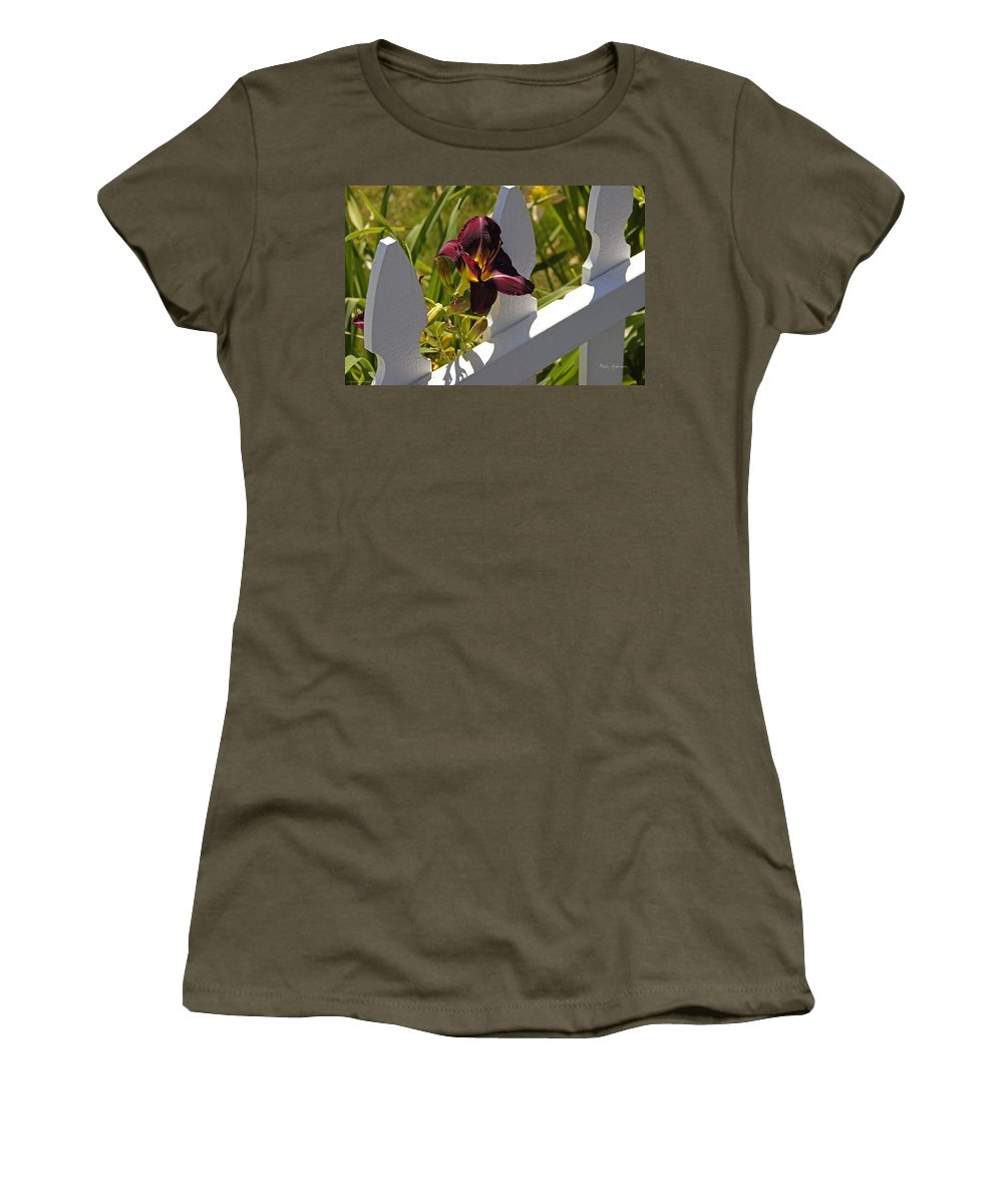 Day Lily Women's T-Shirt featuring the photograph Day Lily And White Fence II by Mick Anderson
