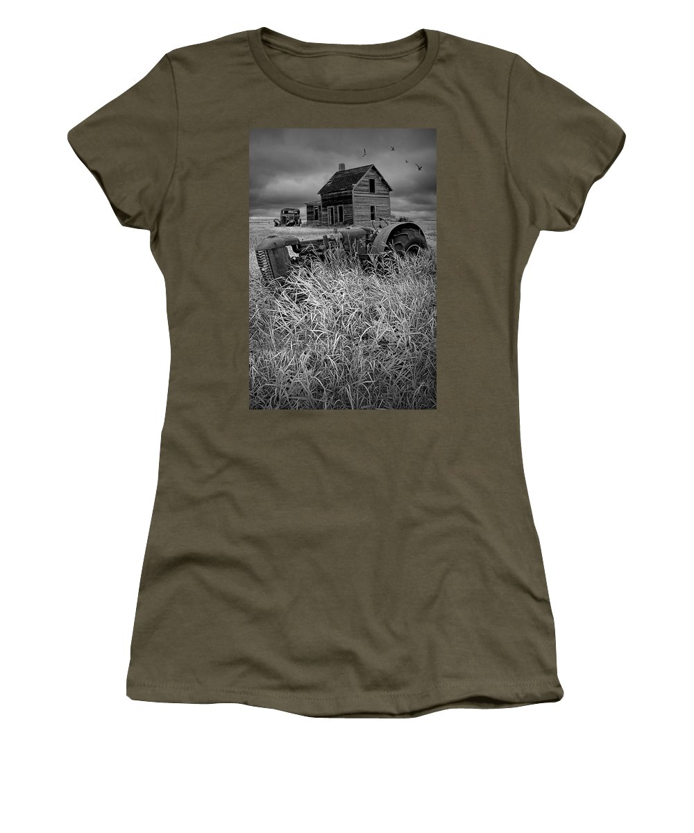 Art Women's T-Shirt featuring the photograph Decline Of The Small Farm No.2 by Randall Nyhof