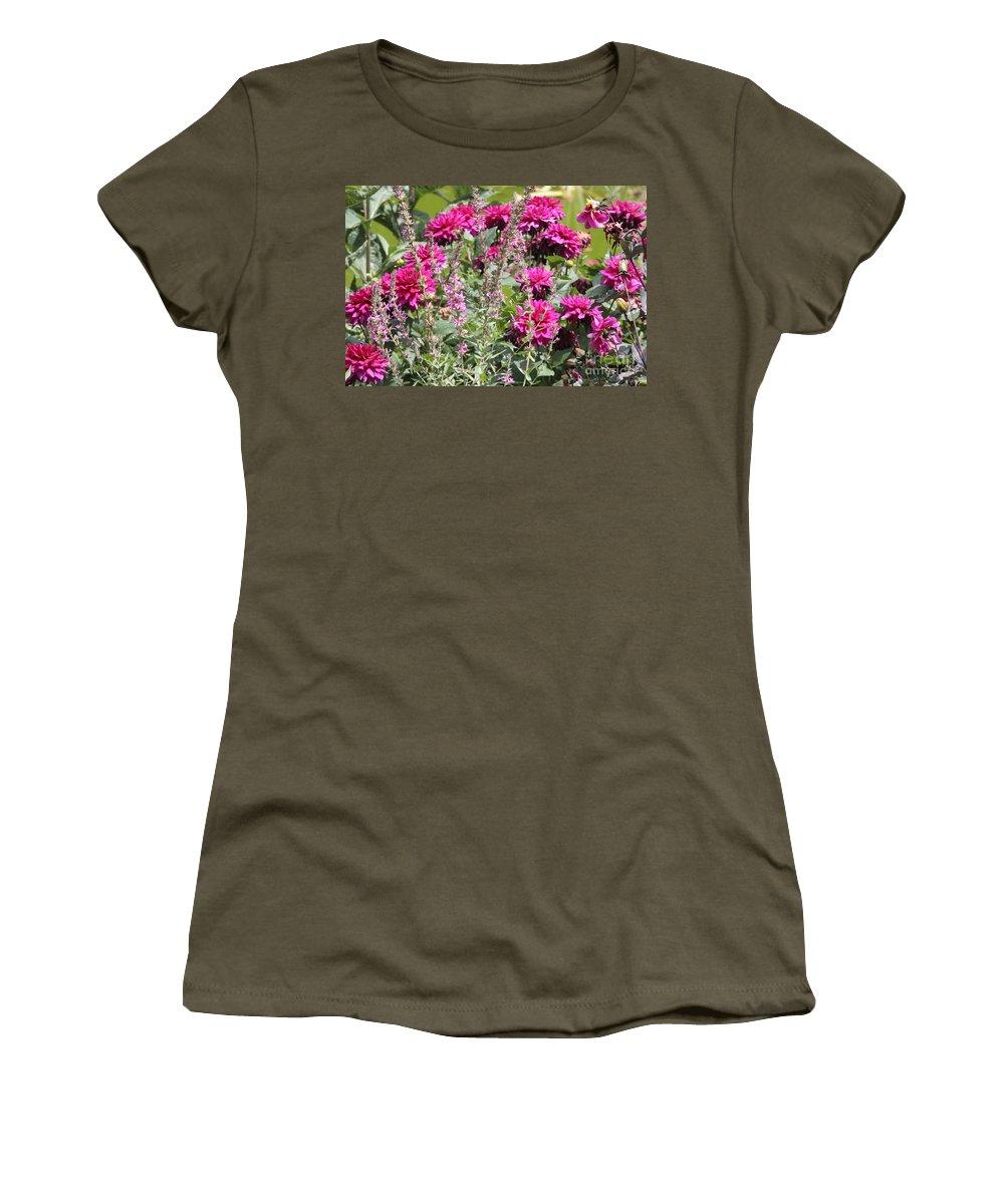 Pink Dahlias Women's T-Shirt featuring the photograph Demure Dahlias by Carol Groenen