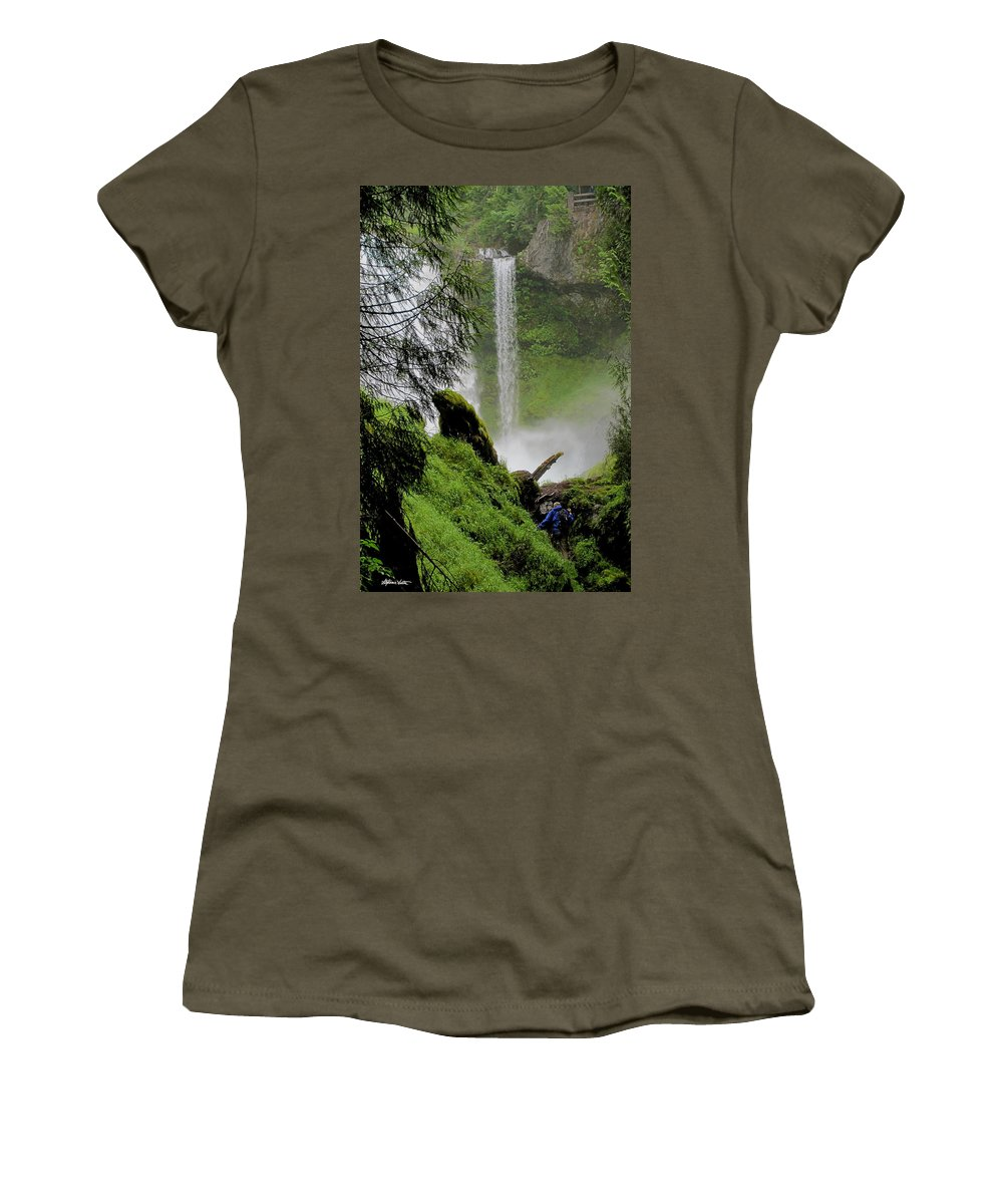 Landscape Women's T-Shirt featuring the photograph Descent To The Falls by Stephanie Salter