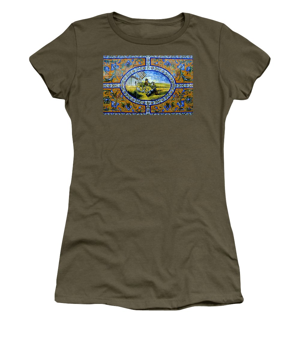 Historic Spanish Tile Women's T-Shirt featuring the photograph Don Quixote In Spanish Tile by David Lee Thompson