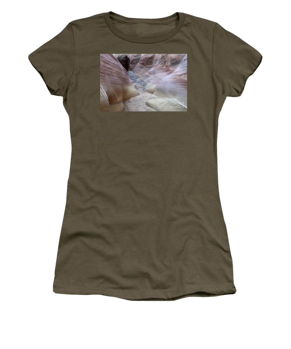 Valley Of Fire Women's T-Shirt featuring the photograph Dry Creek Bed 3 by Bob Christopher
