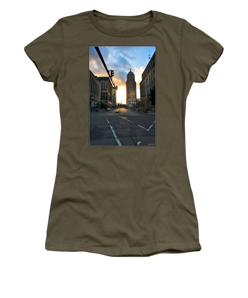 Women's T-Shirt featuring the photograph Early Morning Court Street by Michael Frank Jr