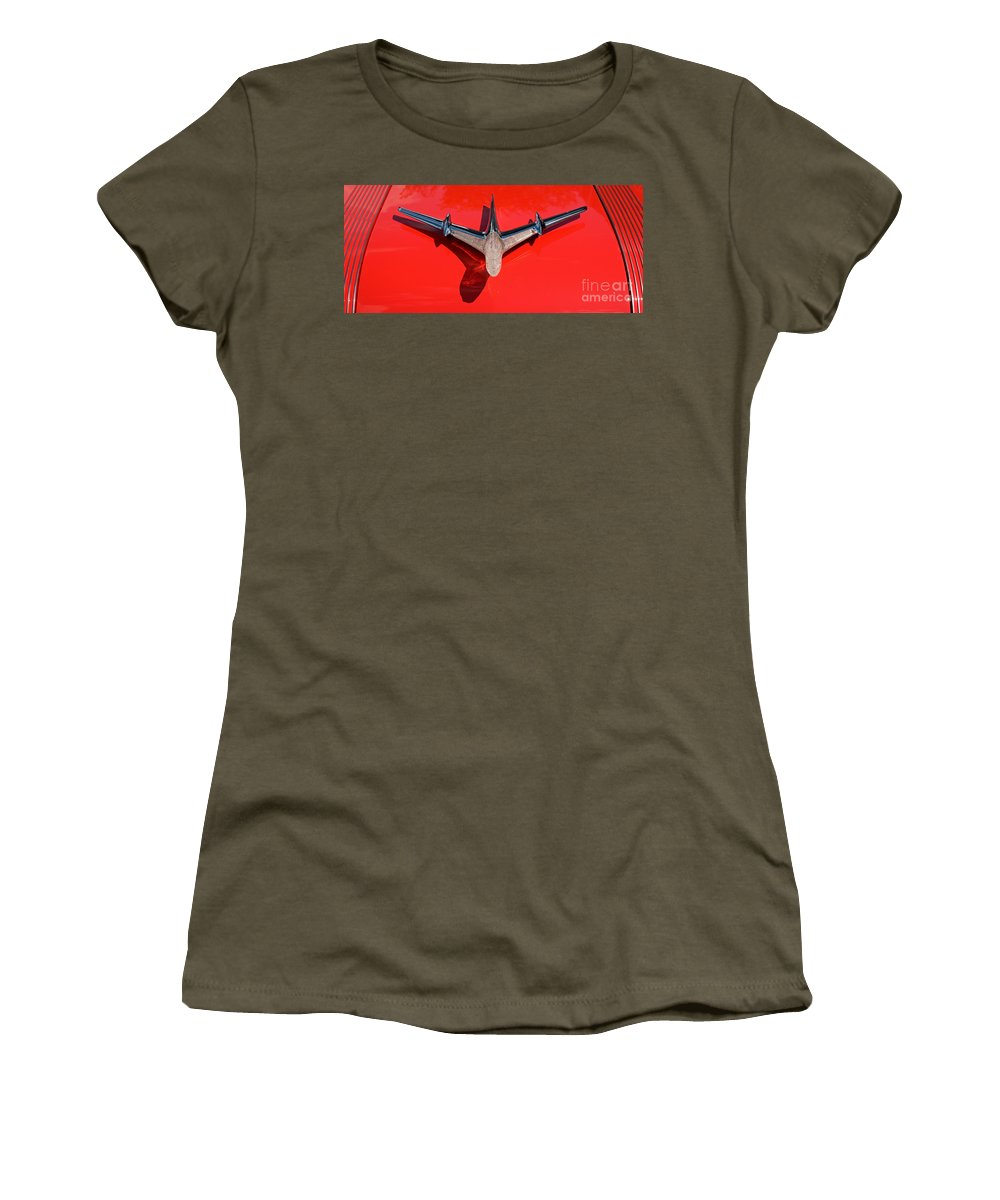 Car Women's T-Shirt featuring the photograph Emblem On Red 2 by Vivian Christopher