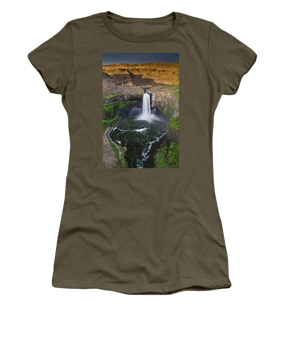Palouse Falls Women's T-Shirt (Athletic Fit) featuring the photograph Evening At Palouse Falls by Greg Nyquist