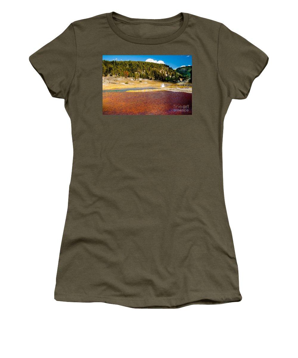 Lake Women's T-Shirt featuring the photograph Firehole Lake by Robert Bales