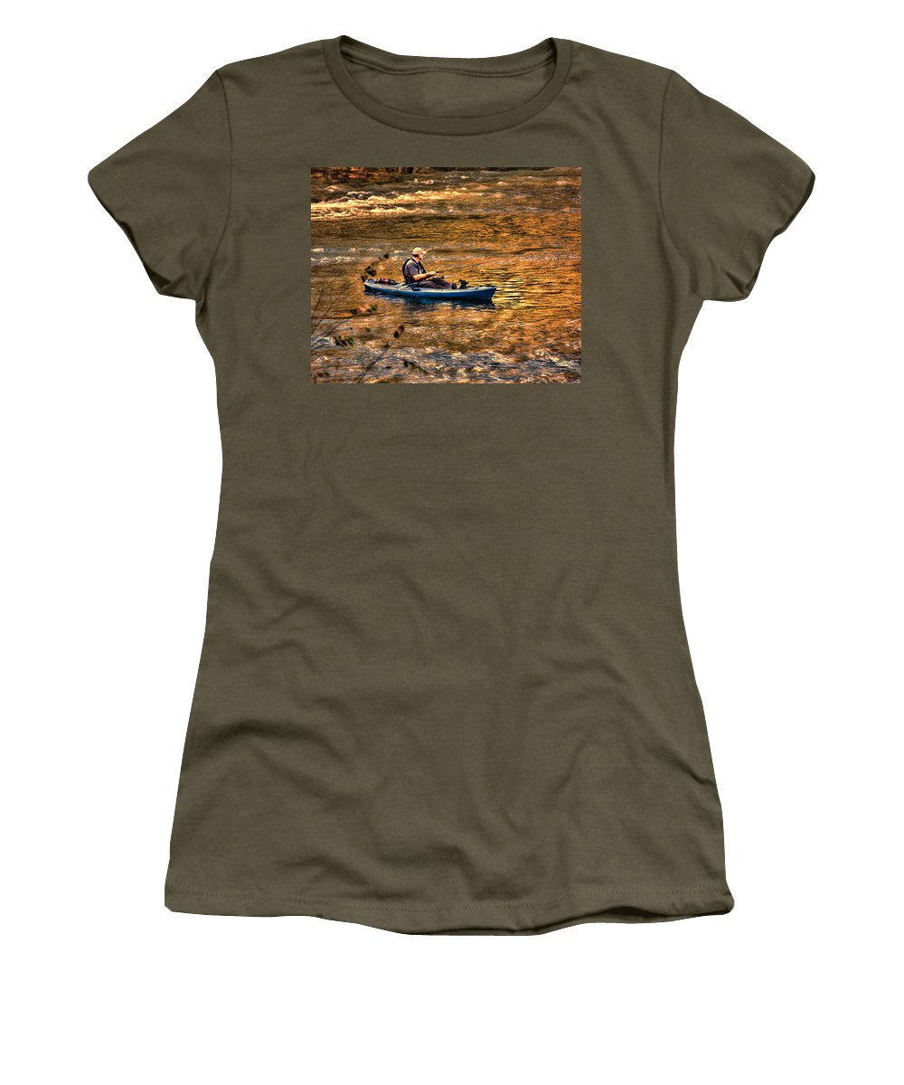 Fishing Women's T-Shirt featuring the photograph Fishing The Golden Hour by Steven Richardson