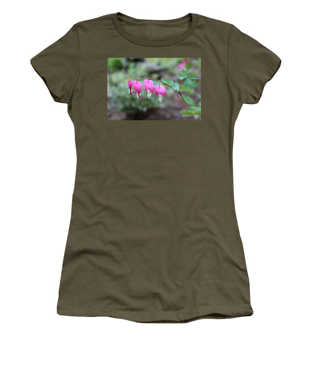 Bleeding Hearts Women's T-Shirt (Athletic Fit) featuring the photograph Four Bleeding Hearts by Stephanie Kripa