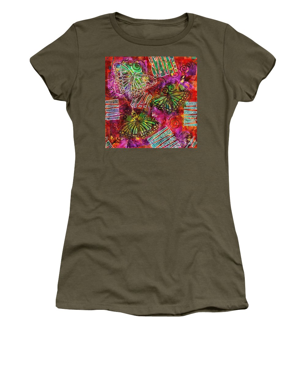 Acrylic Women's T-Shirt featuring the painting Freedom Flight by Angela L Walker
