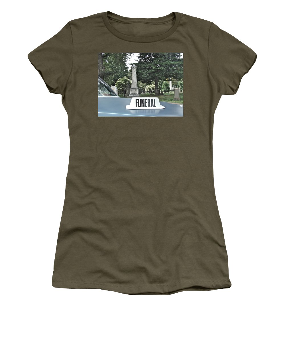 Funeral View Cemetery Laurel Hill Philadelphia Women's T-Shirt featuring the photograph Funeral by Alice Gipson