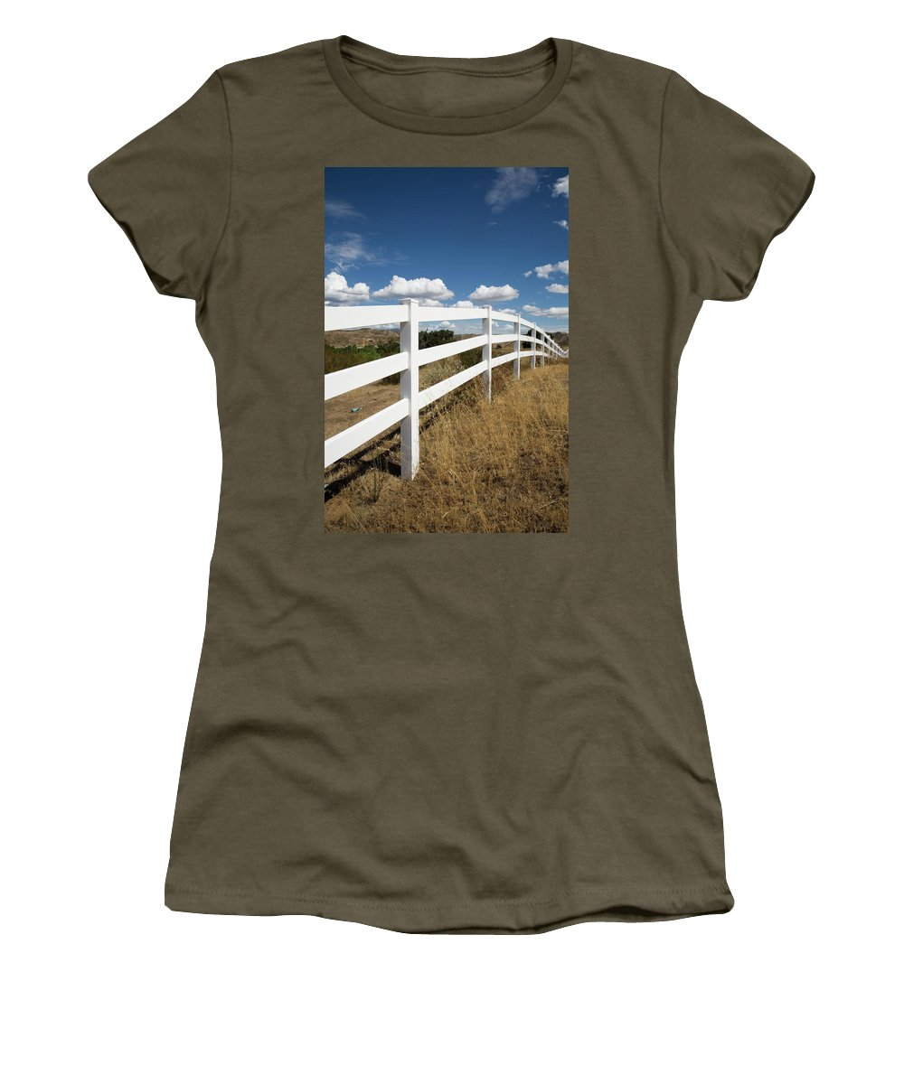 Clouds Women's T-Shirt featuring the photograph Galloping Fence by Peter Tellone
