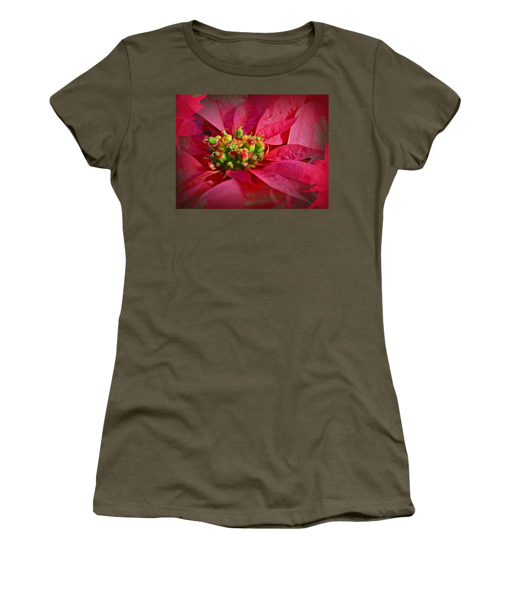 Poinsettia Women's T-Shirt featuring the photograph Get To The Heart Of It by Mother Nature