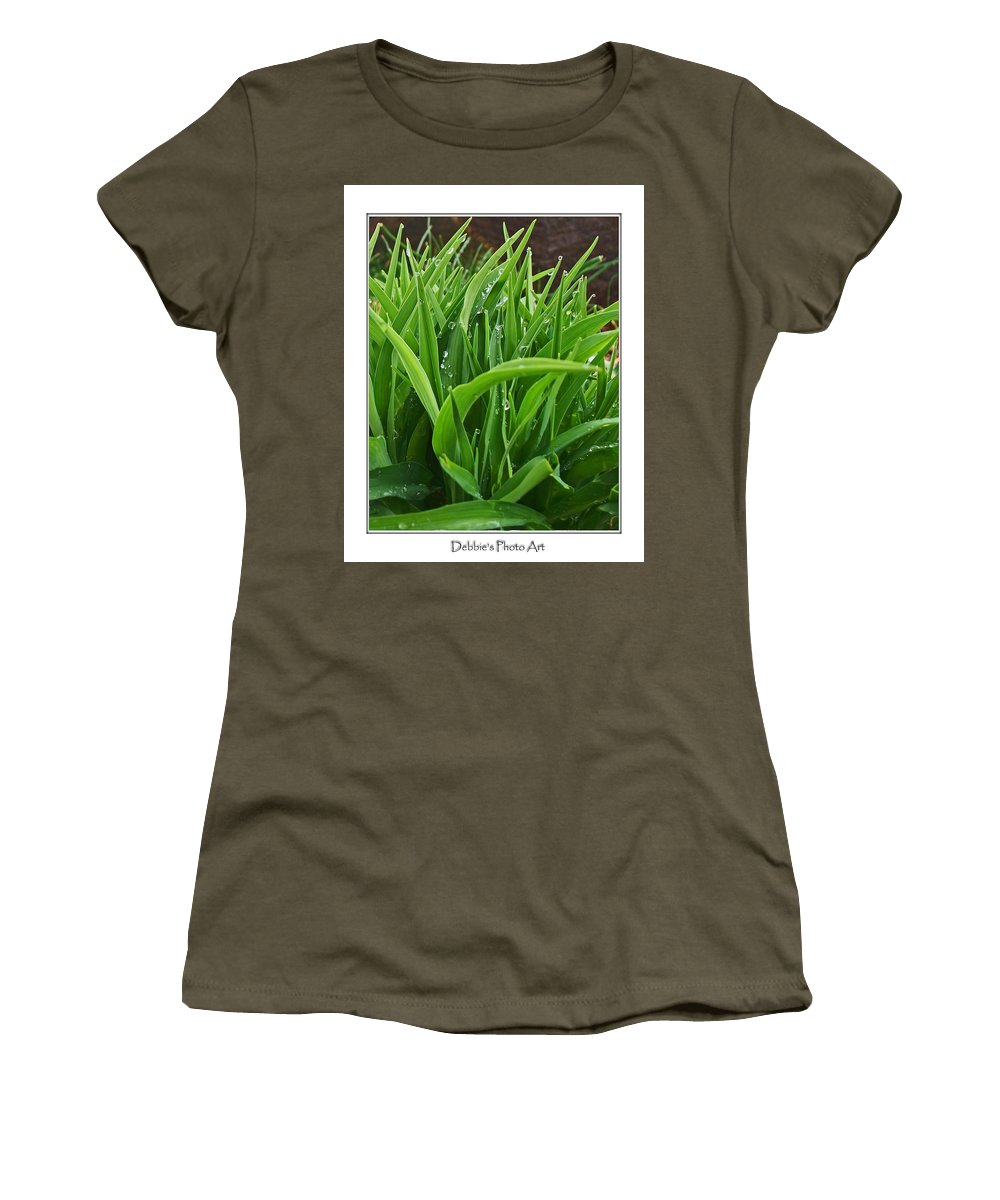 Botanical Women's T-Shirt featuring the photograph Grassy Drops by Debbie Portwood