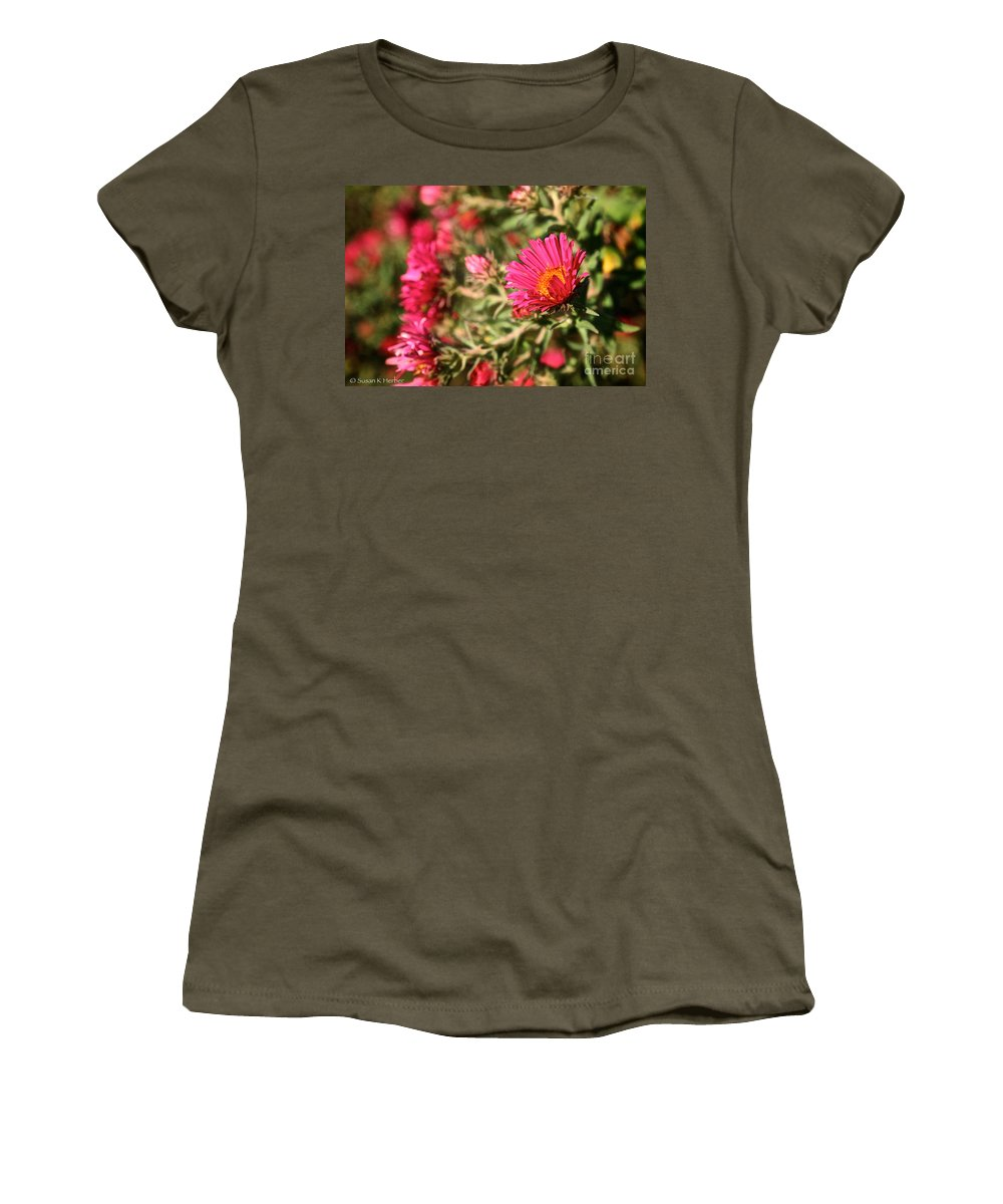 Flower Women's T-Shirt featuring the photograph Happy Aster by Susan Herber