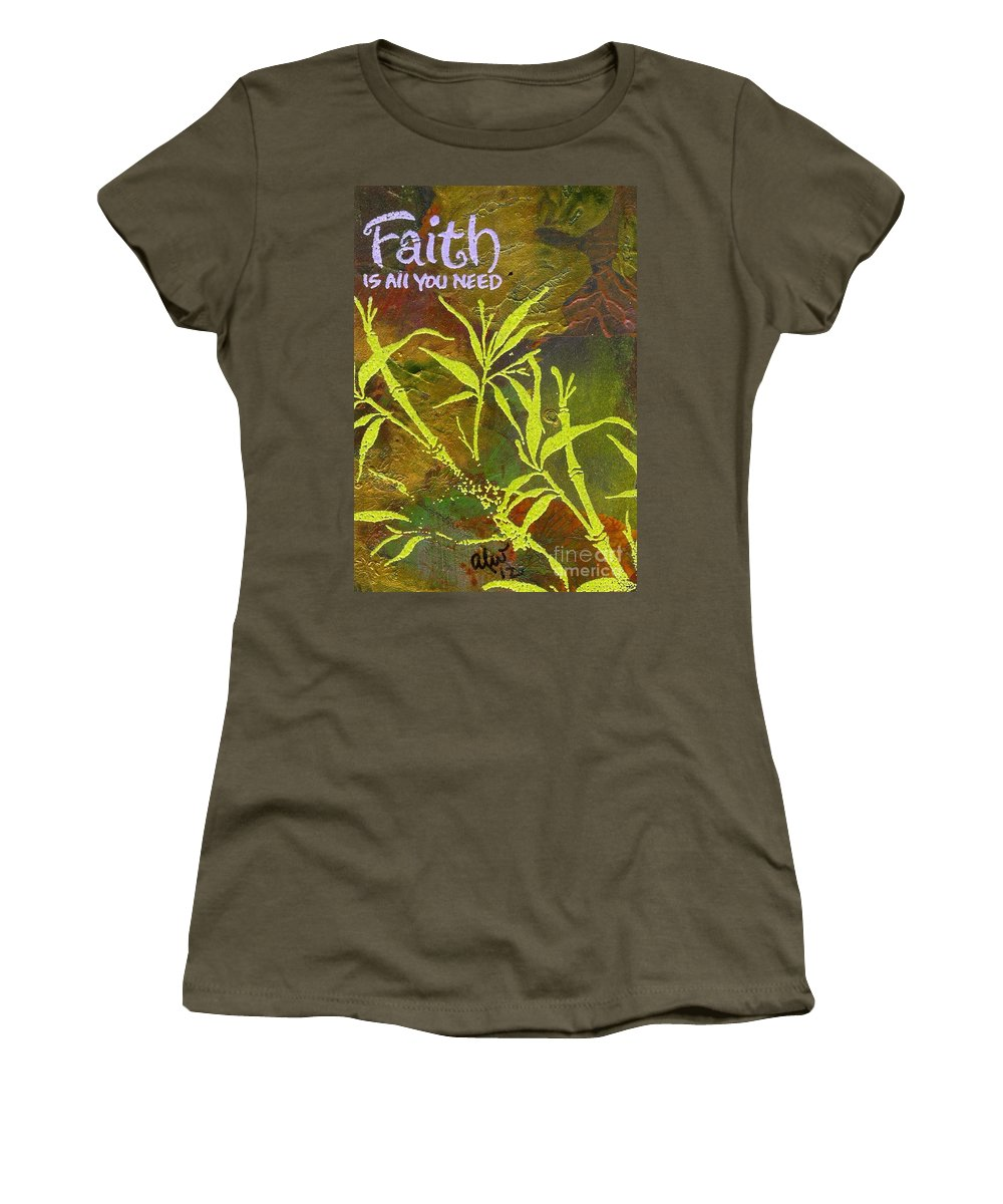 Acrylic Women's T-Shirt featuring the painting Having Faith by Angela L Walker
