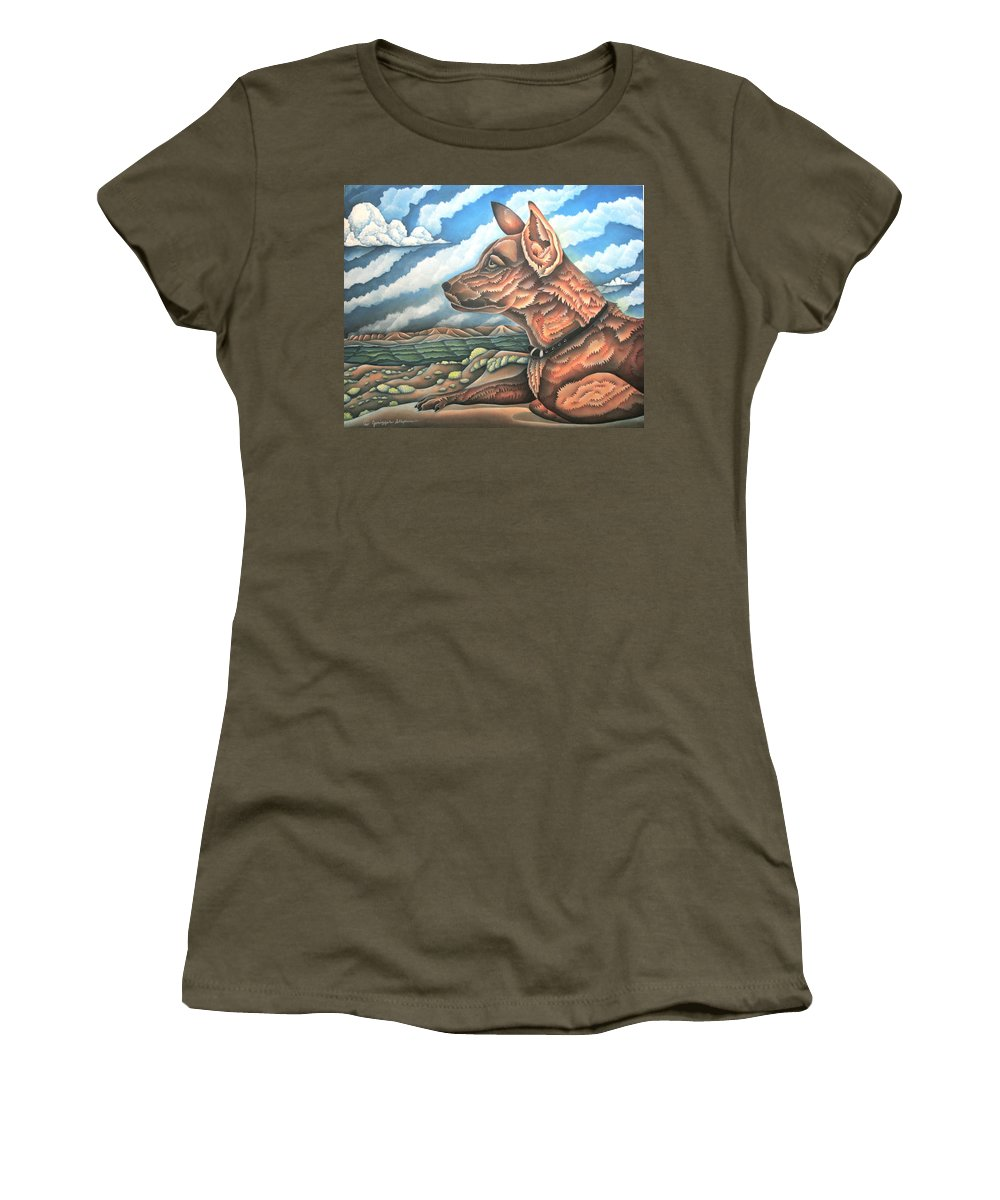 Dog Women's T-Shirt featuring the painting Horizon Scout by Jeniffer Stapher-Thomas