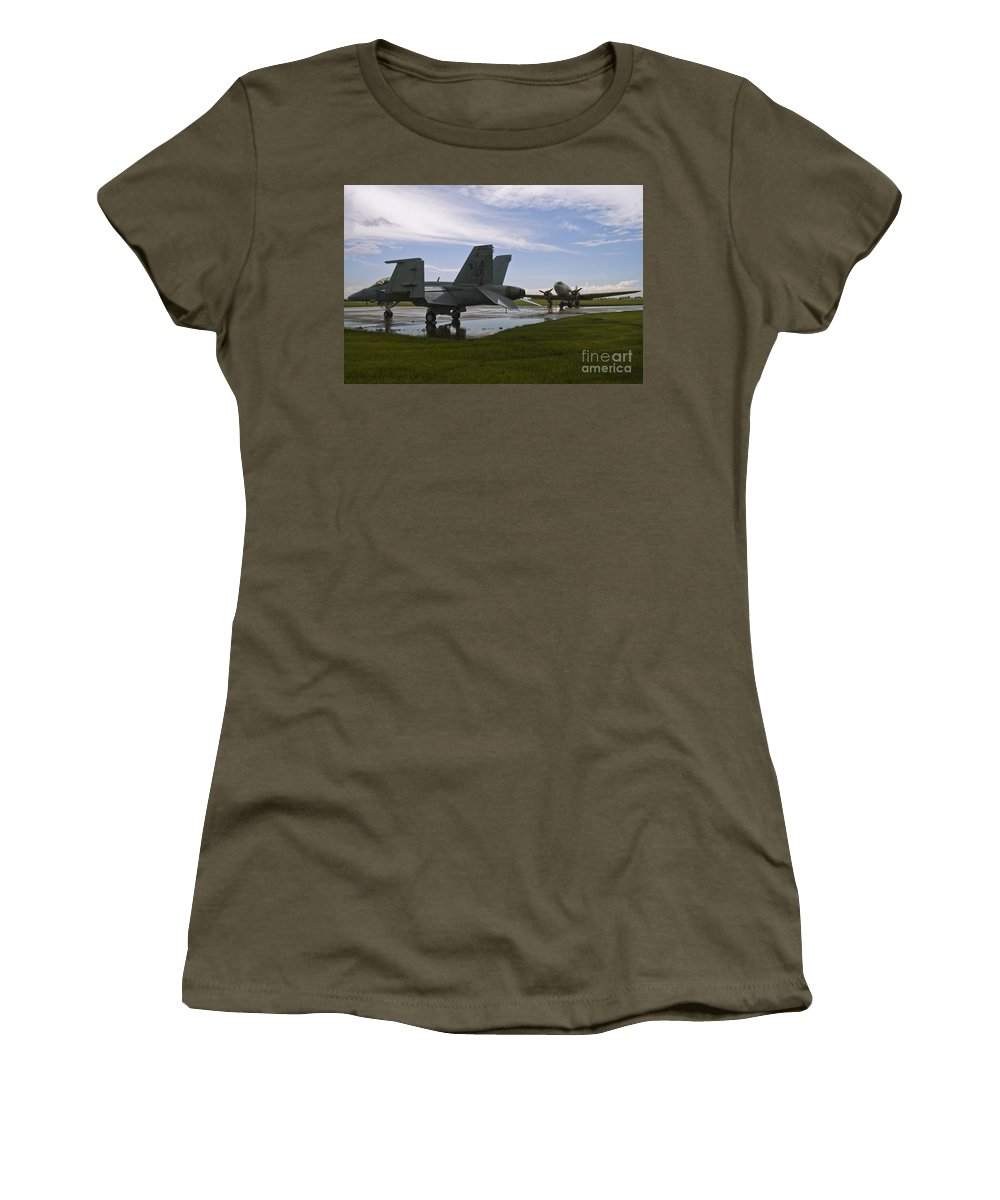 Fa 18 Hornet Women's T-Shirt featuring the photograph Hornet And Gooney After The Storm by Tim Mulina
