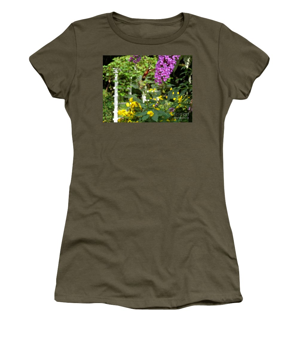 Hummingbird Moth Women's T-Shirt featuring the photograph Hummingbird Moth In Flight by Nancy Patterson