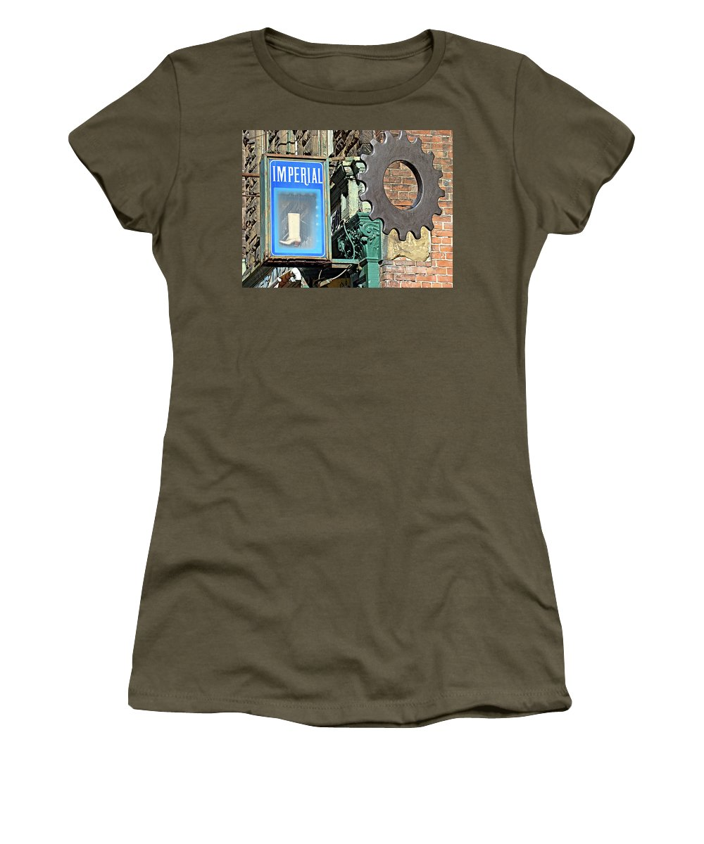 Imperial Street Scene Sign Sprocket Brick Philadelphia Women's T-Shirt featuring the photograph Imperial by Alice Gipson