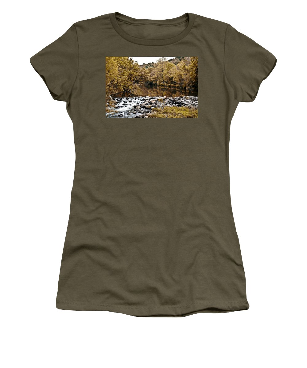 Indian Summer At Brandywine Creek Women's T-Shirt (Athletic Fit) featuring the photograph Indian Summer At Brandywine Creek by Bill Cannon