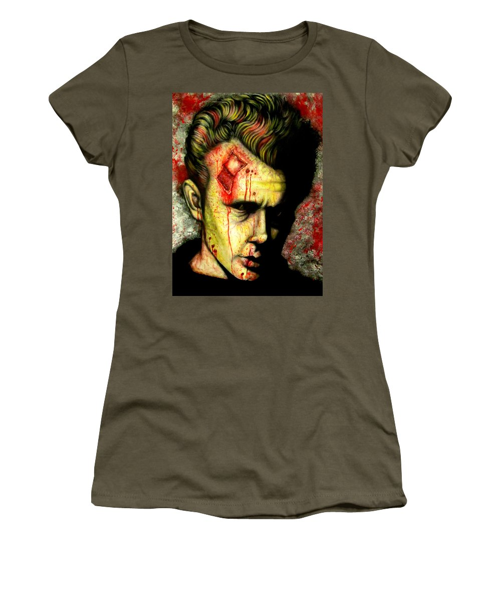 Celebrity Zombie Women's T-Shirt featuring the painting James Dean Zombie by Justin Coffman