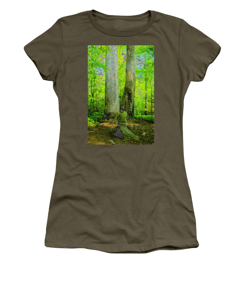 Art Women's T-Shirt featuring the painting Lady In The Woods by David Lee Thompson