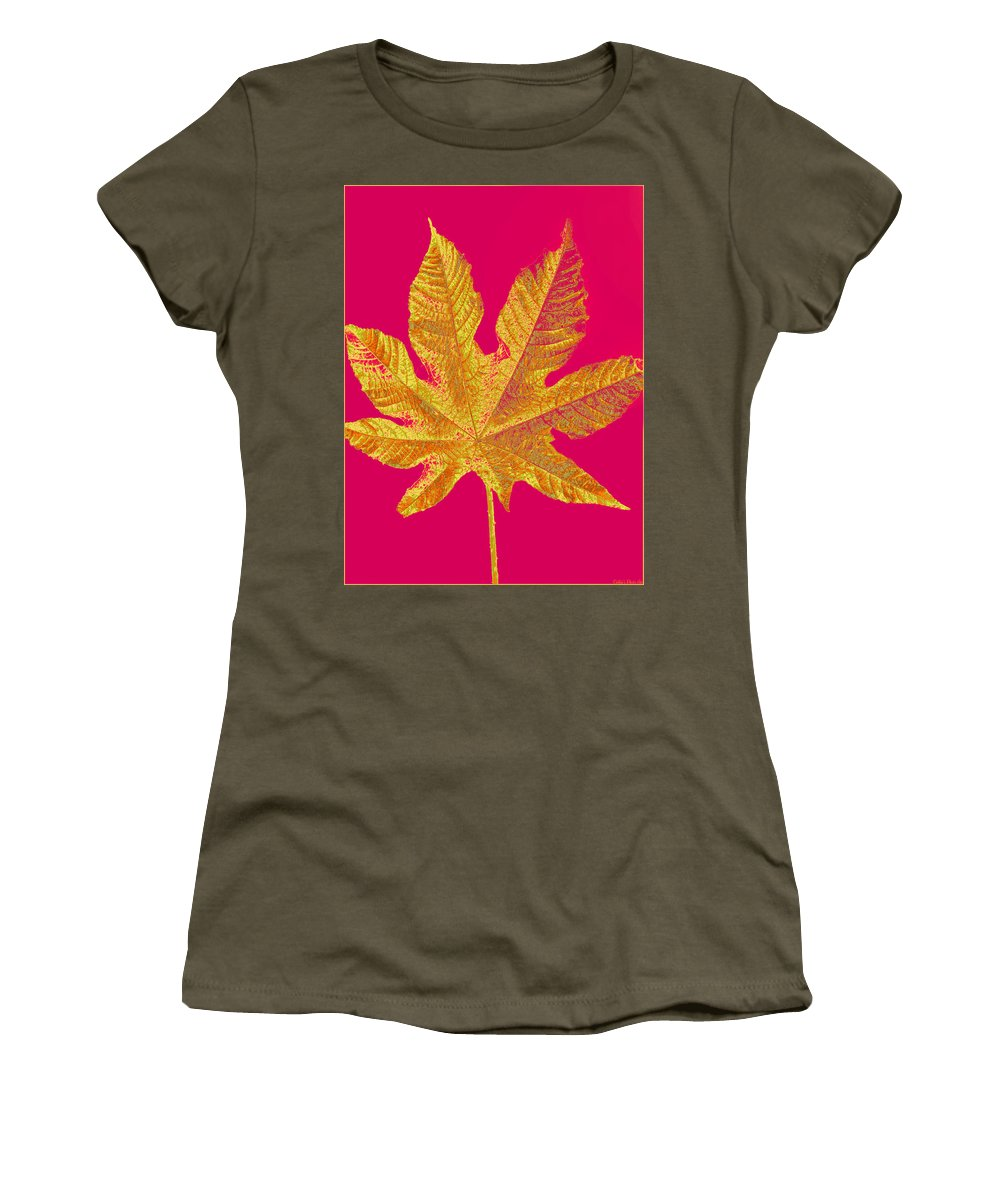 Botanical Women's T-Shirt featuring the photograph Large Leaf Photoart by Debbie Portwood