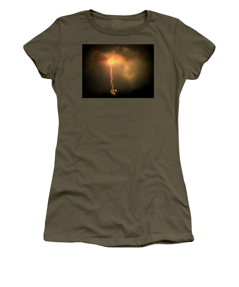 Lightning Women's T-Shirt featuring the photograph Lightning Strikes The Heart by Trish Tritz