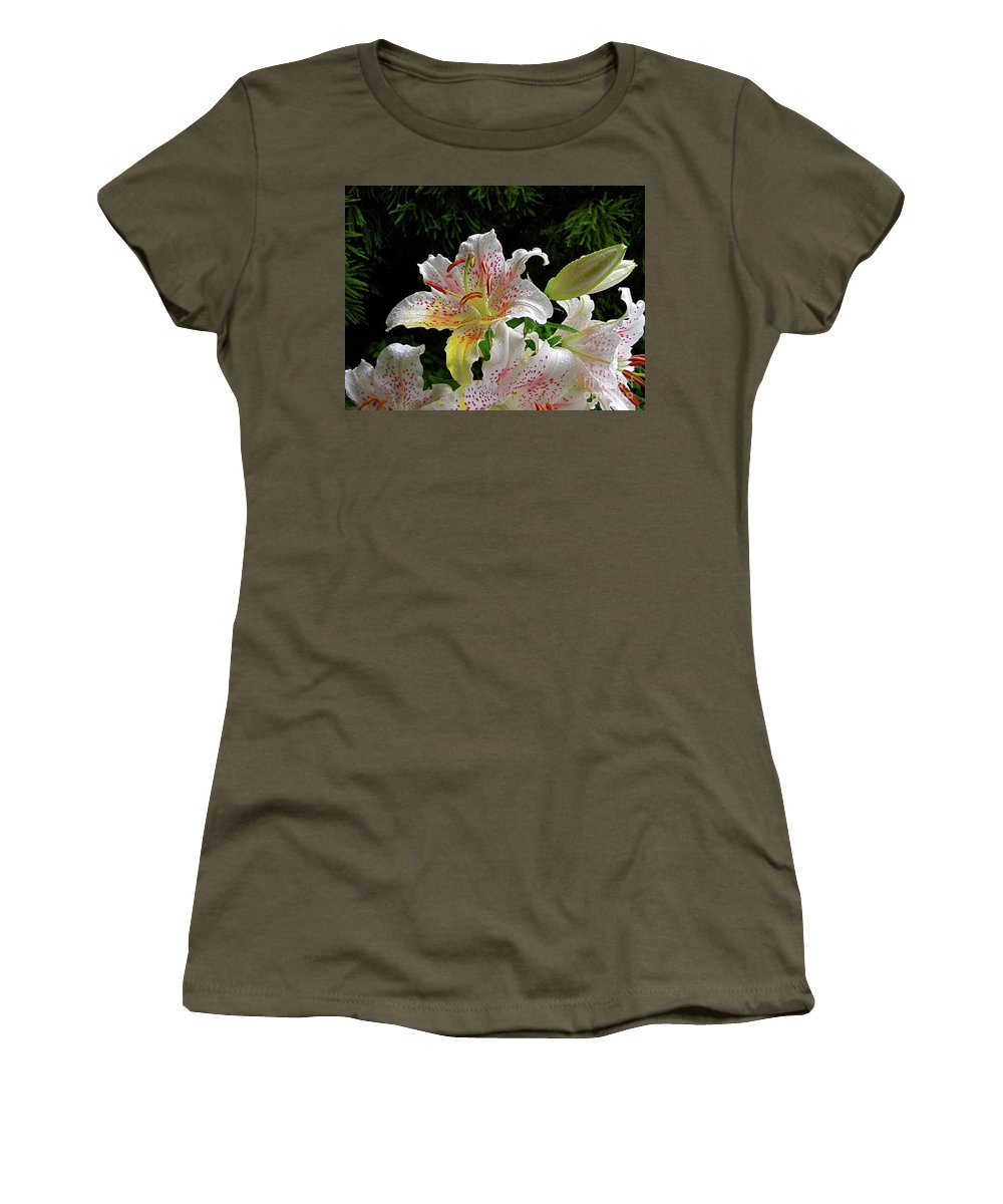 Lily Women's T-Shirt featuring the photograph Lilies In The Rain by Byron Varvarigos