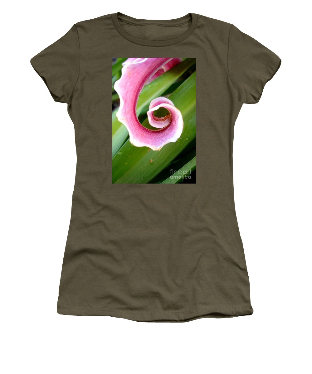 Lily Women's T-Shirt (Athletic Fit) featuring the photograph Lily Spiral by Kerri Mortenson