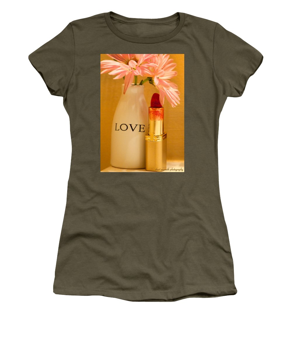 Daisy Women's T-Shirt featuring the photograph Lipstick Love by Sheri Bartoszek