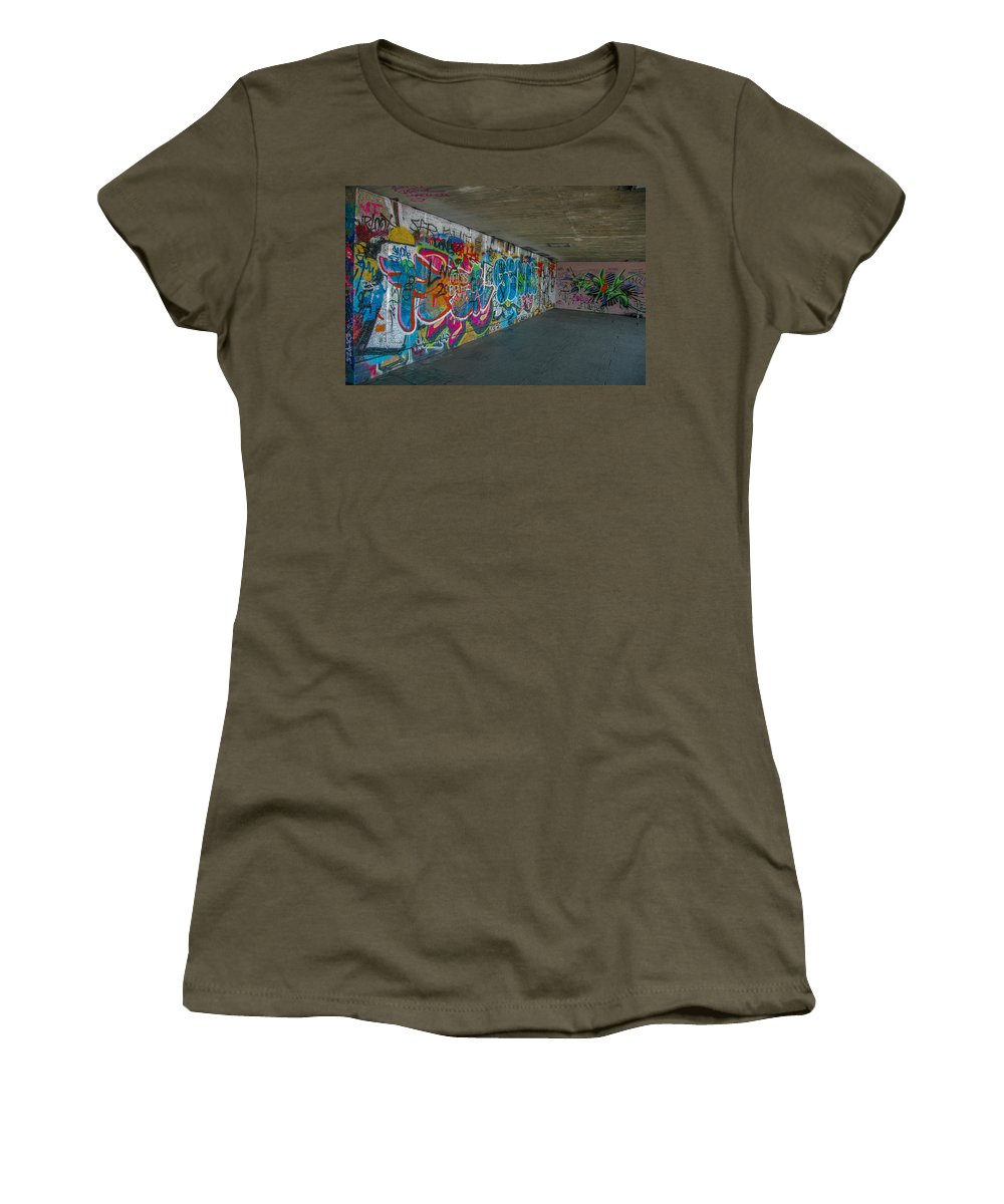 Street Art Women's T-Shirt (Athletic Fit) featuring the photograph London Skatepark 5 by Jonah Anderson