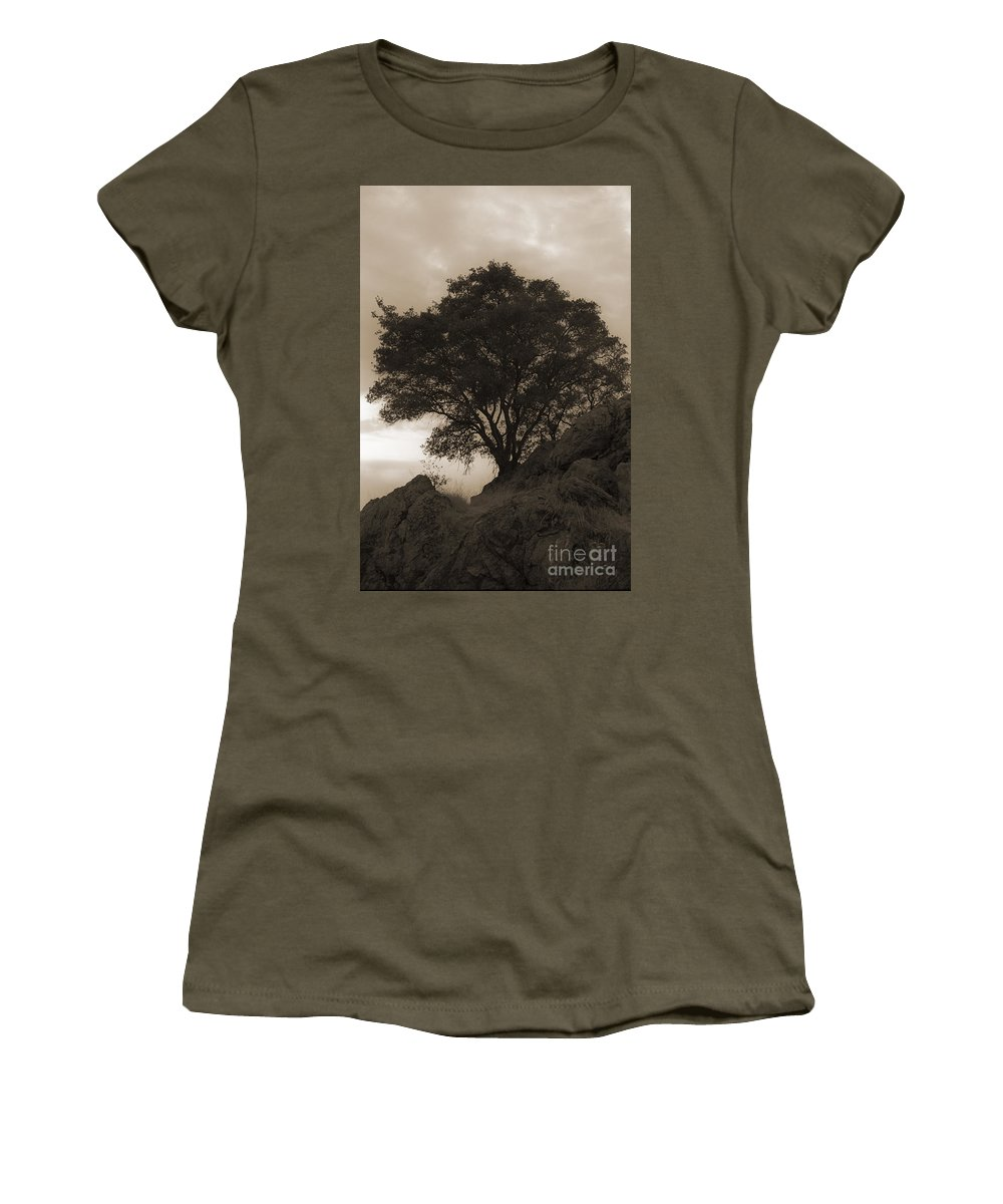 Lone Women's T-Shirt featuring the photograph Lone Oak 2 Sepia by Jim And Emily Bush