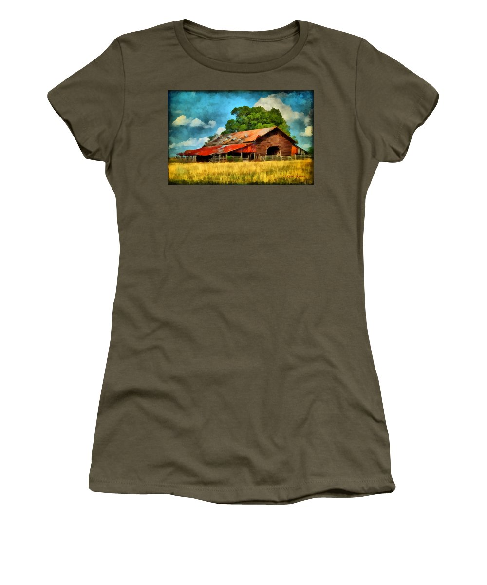Barn Women's T-Shirt (Athletic Fit) featuring the painting Long Road Barn by Lynne Jenkins
