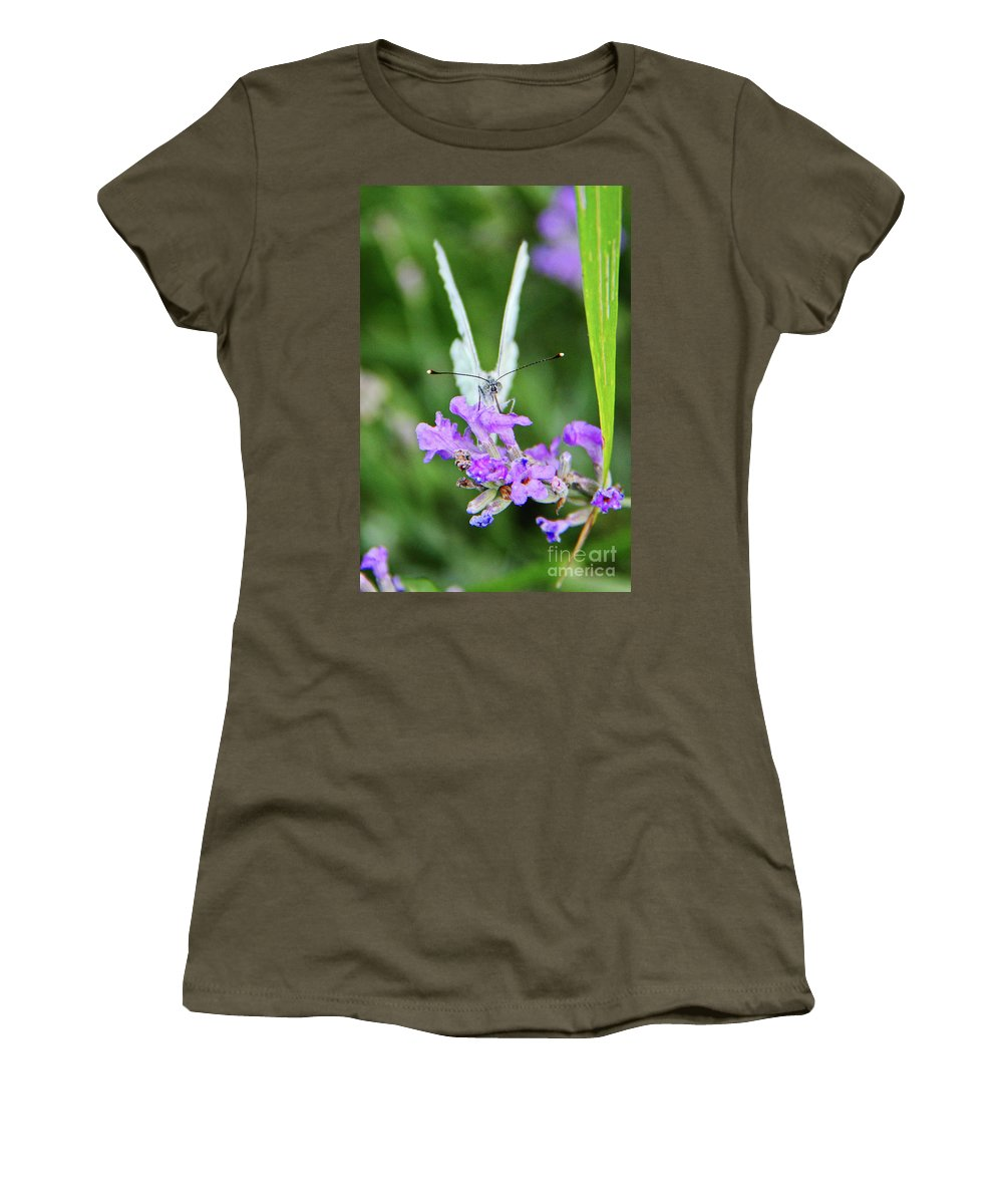 Looking Women's T-Shirt featuring the photograph Looking Into Butterfly Eyes by Mariola Bitner