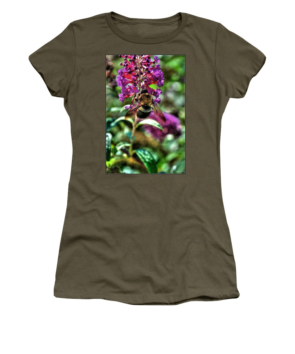 Women's T-Shirt featuring the photograph Making Things New Via The Bee Series by Michael Frank Jr
